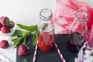 Refreshing strawberry smoothies
