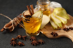 Pear mulled wine with spices