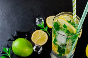 Mojito cocktail with ingredients