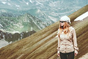 Young Woman hiking Travel Lifestyle