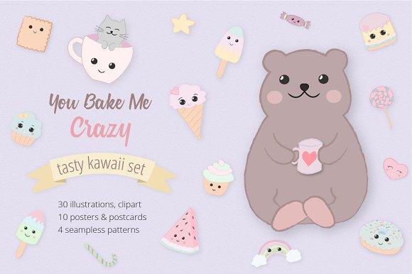 Sweet Kawaii Cake Set in Illustrations