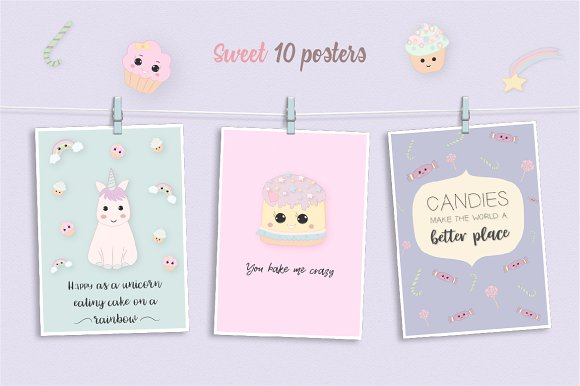 Sweet Kawaii Cake Set in Illustrations - product preview 3