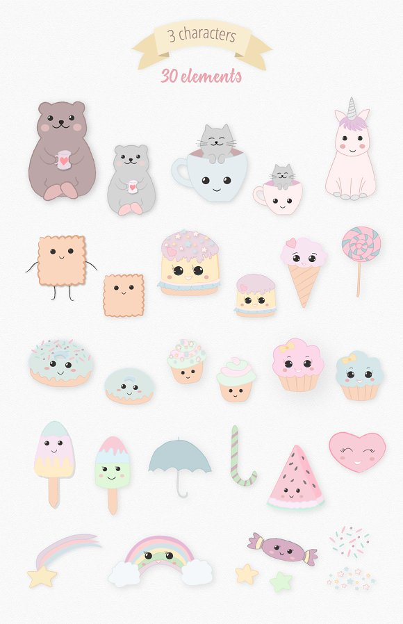Sweet Kawaii Cake Set in Illustrations - product preview 6