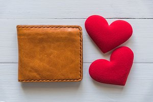 wallet with red heart
