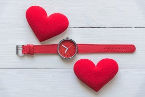 couple red heart with watch