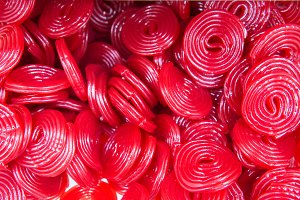 Red Licorice wheels candies.