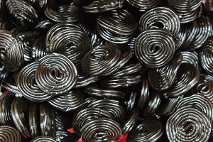 Licorice wheels candies.