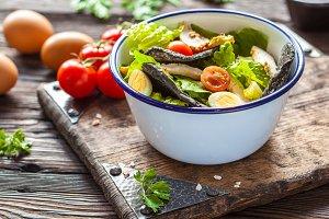 Caesar salad with black croutons