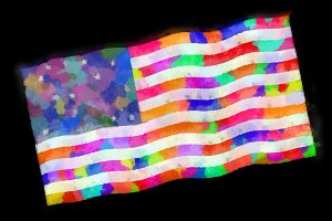 U.S.A. Flag Whimsical Watercolor