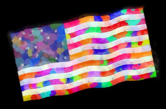 U.S.A Flag Whimsical Watercolor