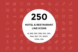 250 Hotel and Restaurant Line Icons