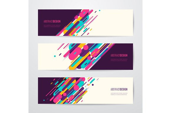 Vector Illustration Of Horizontal Geometry Round Diagonal And Line Banner Set