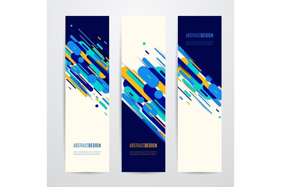 Vector Illustration Of Vertical Geometry Round Diagonal And Line Banner Set