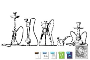 Hookah set on white background