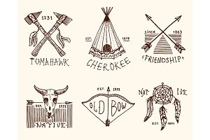 set of engraved vintage, hand drawn, old, labels or badges for indian or native american. buffalo, axes and tent, arrows and bow, skull, Dreamcatcher and cherokee, tomahawk.