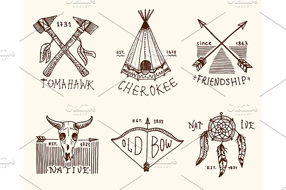 Set Of Engraved Vintage Hand Drawn Old Labels Or Badges For Impressive Cherokee Indian Dream Catcher