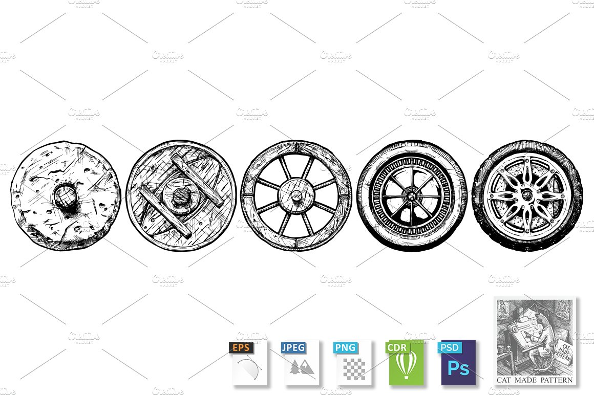 Evolution of the Wheel ~ Illustrations ~ Creative Market