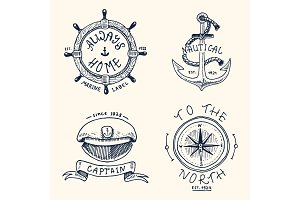 set of engraved vintage, hand drawn, old, labels or badges for anchor, steering wheel, captains cap, compass. Marine and nautical or sea, ocean emblems. always home.