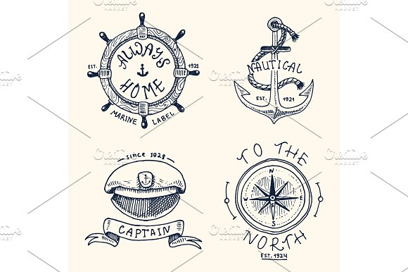 Set Of Engraved Vintage Hand Drawn Old Labels Or Badges For Anchor Steering Wheel Captains Cap Compass Marine And Nautical Or Sea Ocean Emblems Always Home