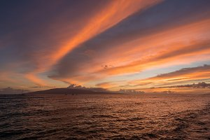 Dramatic sunset over Lanai from Lahaina on Maui