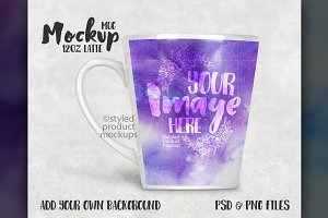 12 oz latte mug mockup