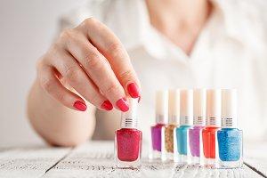 Nail polish in hand