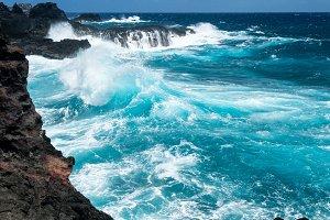 Waves crash on north east coastline of Maui