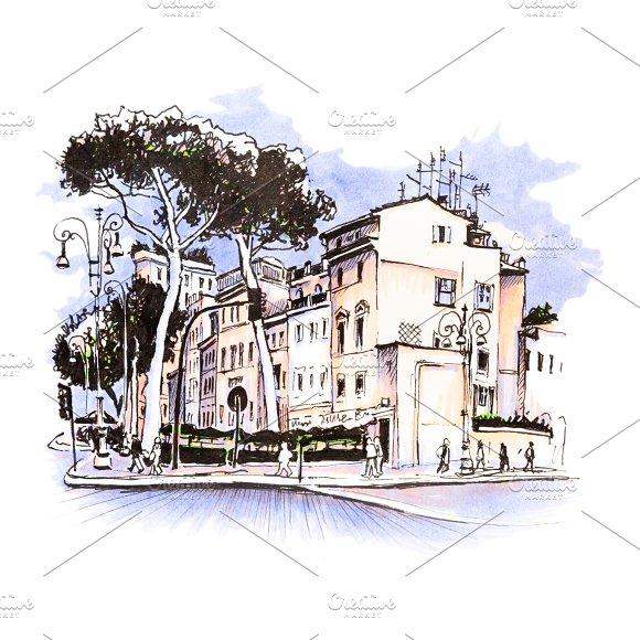 Scenic City View Of Rome Italy