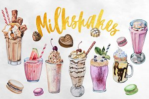 Watercolor Milkshakes Clipart Set