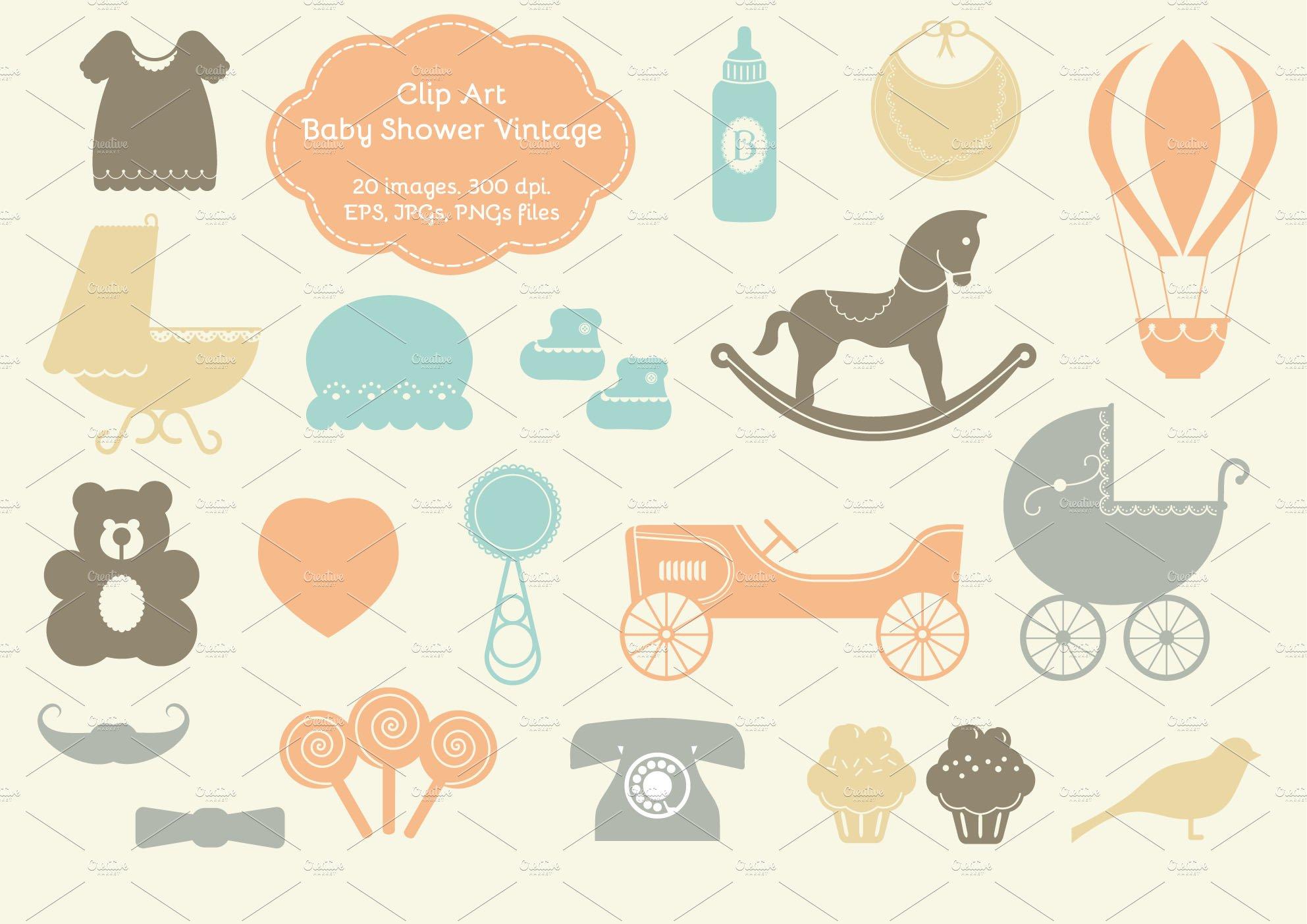 20 Baby Shower Vintage Elements Illustrations Creative Market
