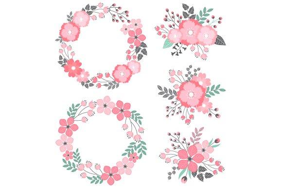 Pastel floral wreath bouquets illustrations creative market mightylinksfo