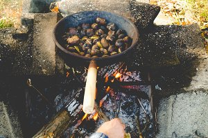 Barbecue picture, faded vintage look