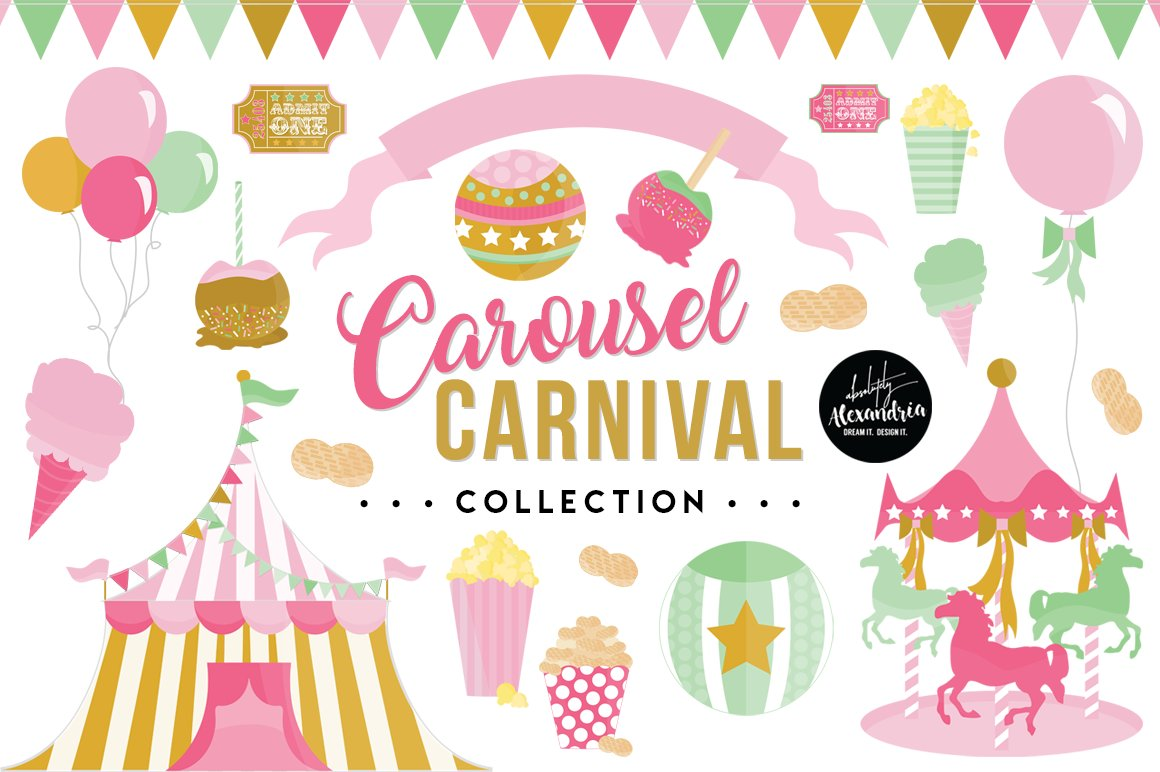 carousel carnival graphics amp pattern illustrations