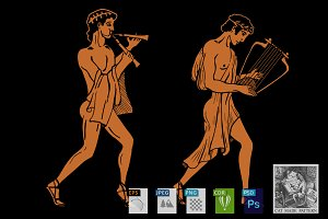 Ancient Greek musicians. 2 versions