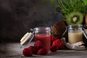 Multifruit and banana smoothies