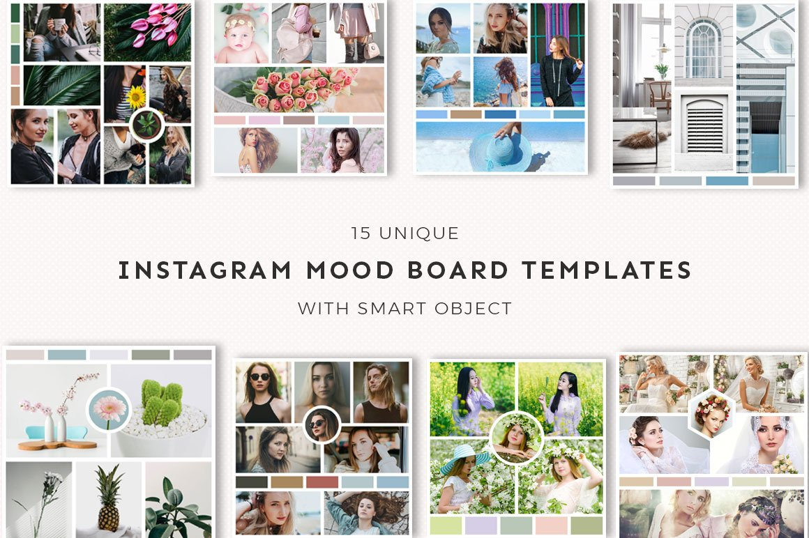 15 instagram mood board templates v3 instagram templates for Fashion mood board template