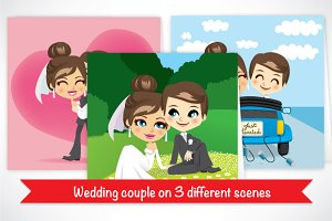 Wedding couple on 3 different scenes