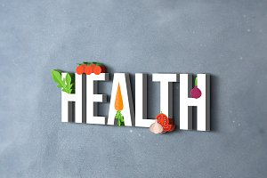 Health banner with vegetables