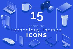 15 Technology Icons (Isometric)