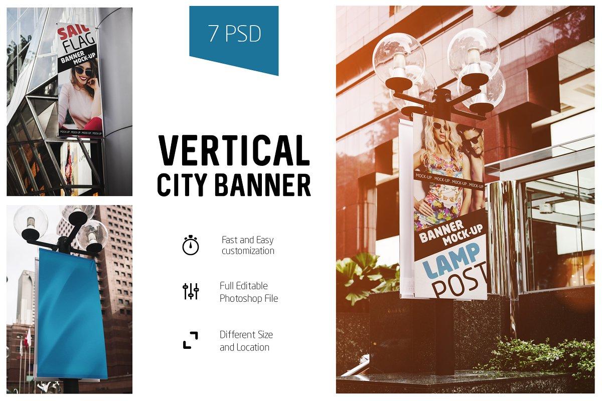 Vertical City Banner Mock-Up ~ Print Mockups ~ Creative Market