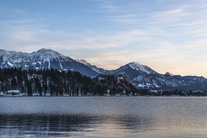 Bled lake and mountains on Sunrise