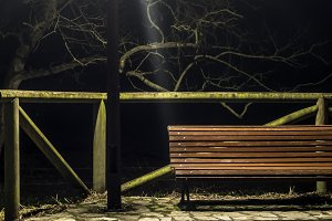bench and streetlight