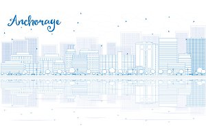 Outline Anchorage skyline