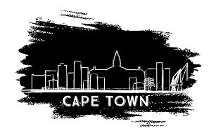 Cape Town Skyline Silhouette.