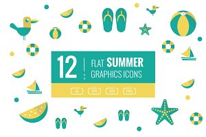 12 Summer Flat icons