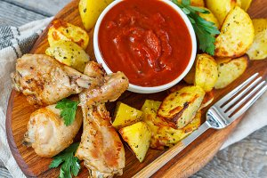 Baked potatoes with chicken