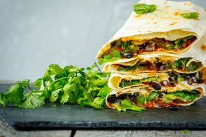Vegetarian burritos wraps with beans