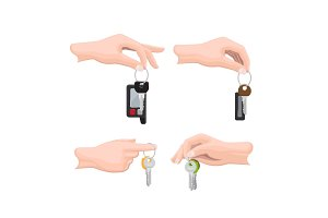 Keys on Keyring in Human Hand Flat Vectors Set
