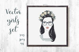 Girl hipster portraites