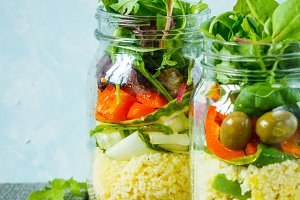 salad with couscous in jar